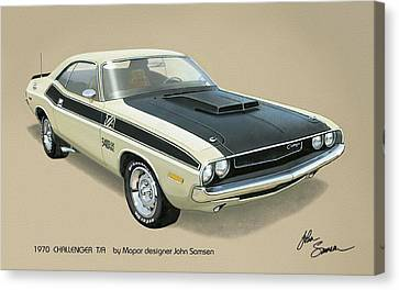 1970 Challenger T-a Dodge Muscle Car Classic Canvas Print by John Samsen