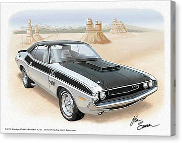 1970 Challenger T-a Dodge Muscle Car Sketch Rendering Canvas Print by John Samsen