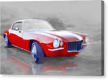 1970 Chevy Camaro Watercolor Canvas Print by Naxart Studio