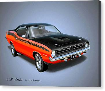 1970 'cuda Aar  Classic Barracuda Vintage Plymouth Muscle Car Art Sketch Rendering         Canvas Print by John Samsen