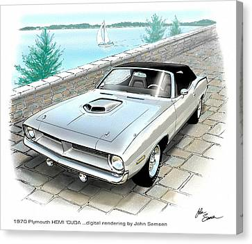 1970 Hemi Cuda Plymouth Muscle Car Sketch Rendering Canvas Print by John Samsen