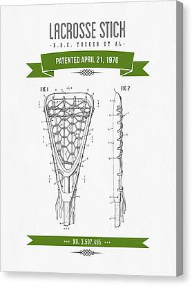 1970 Lacrosse Stick Patent Drawing - Retro Green Canvas Print by Aged Pixel