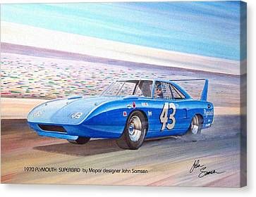 1970 Superbird Petty Nascar Racecar Muscle Car Sketch Rendering Canvas Print by John Samsen
