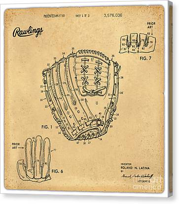 1971 Baseball Glove Patent Art Latina For Rawlings 1 Canvas Print by Nishanth Gopinathan