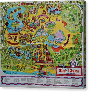 1971 Original Map Of The Magic Kingdom Canvas Print by Rob Hans