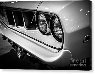 1971 Plymouth Cuda Black And White Picture Canvas Print by Paul Velgos