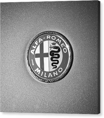 1973 Alfa Romeo Gtv Emblem -0226bw55 Canvas Print by Jill Reger