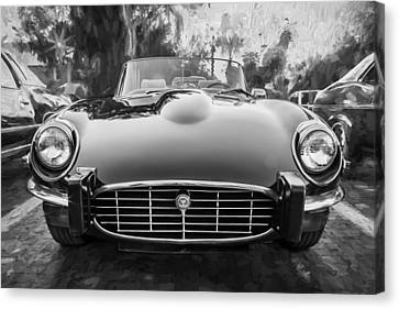 1975 Jaguar Xke V12 Convertible Painted Bw Canvas Print by Rich Franco