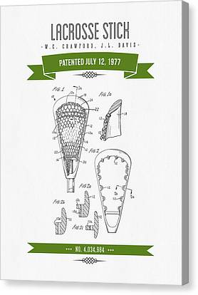 1977 Lacross Stick Patent Drawing - Retro Green Canvas Print by Aged Pixel