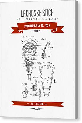 1977 Lacross Stick Patent Drawing - Retro Red Canvas Print by Aged Pixel