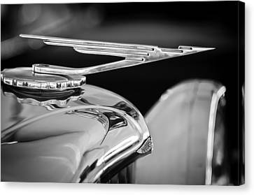 1984 Duesenberg Sj - Twenty Grand - Tribute Hood Ornament -1652bw Canvas Print by Jill Reger