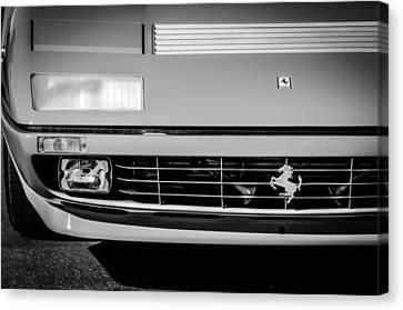 1984 Ferrari 512bbi Grille Emblem -0524bw Canvas Print by Jill Reger