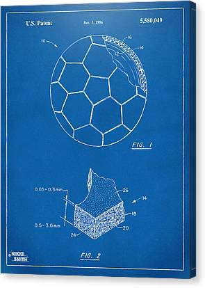 1996 Soccerball Patent Artwork - Blueprint Canvas Print by Nikki Marie Smith