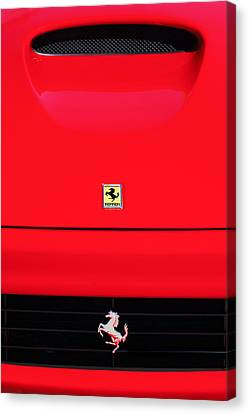1999 Ferrari 550 Maranello Grille - Hood Emblems Canvas Print by Jill Reger