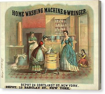 19th Century Advert For A Washing Machine Canvas Print by Library Of Congress
