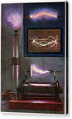 19th Century Electricity Demonstration Canvas Print by Cci Archives