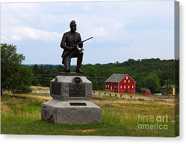 1st Pennsylvania Cavalry Defending Cemetery Ridge Canvas Print by James Brunker
