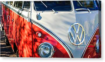 96 Inch Panoramic - 1961 Volkswagen Vw 23-window Deluxe Station Wagon Emblem Canvas Print by Jill Reger