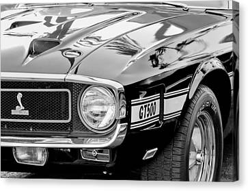 1969 Shelby Cobra Gt500 Front End - Grille Emblem Canvas Print by Jill Reger