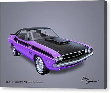 1970 Challenger T-a  Muscle Car Sketch Rendering Canvas Print by John Samsen