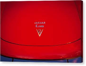 1975 Jaguar Xke V12 Hood Ornament Painted Bw  Canvas Print by Rich Franco