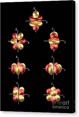 4f Electron Orbitals, General Set Canvas Print by Dr. Mark J. Winter