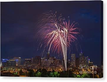 4th Of July Fireworks Over Denver Skyline Canvas Print by Bridget Calip