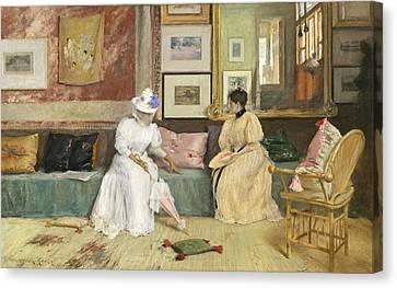 A Friendly Call Canvas Print by William Merritt Chase