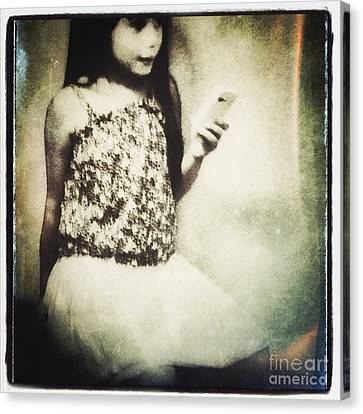 A Girl With Iphone Canvas Print by Elena Nosyreva