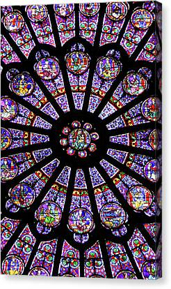 A Rose Window In Notre Dame Cathedral Canvas Print by William Sutton