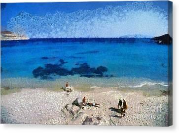 Agrari Beach In Mykonos Island Canvas Print by George Atsametakis