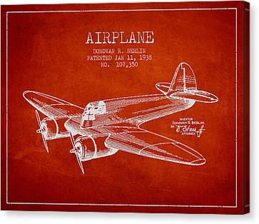 Airplane Patent Drawing From 1938 Canvas Print by Aged Pixel