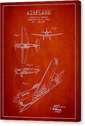 Airplane Patent Drawing From 1943 Canvas Print by Aged Pixel
