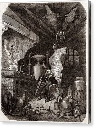 Alchemist At Work, 19th Century Canvas Print by Science Photo Library