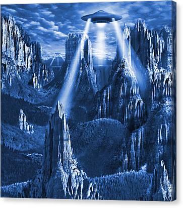 Alien Planet In Blue Canvas Print by Mike McGlothlen