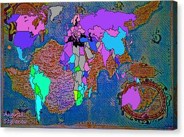 Ancient Cyprus And World Map  Canvas Print by Augusta Stylianou