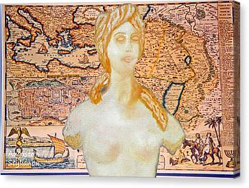 Ancient Middle East Map And Aphrodite Canvas Print by Augusta Stylianou