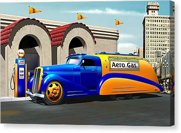 Art Deco Gas Truck Canvas Print by Stuart Swartz