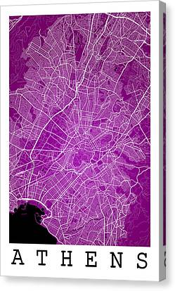 Athens Street Map - Athens Greece Road Map Art On Color Canvas Print by Jurq Studio