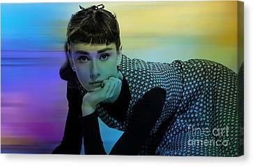 Audrey Hepburn Art Canvas Print by Marvin Blaine