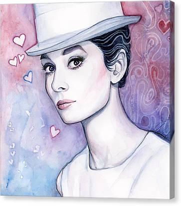 Audrey Hepburn Fashion Watercolor Canvas Print by Olga Shvartsur