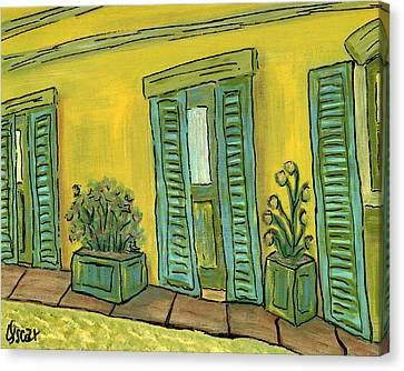 Back Patio  Canvas Print by Oscar Penalber