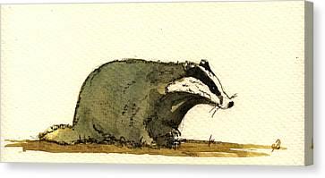 Badger Canvas Print by Juan  Bosco