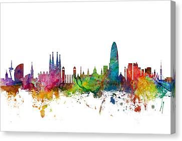 Barcelona Spain Skyline Canvas Print by Michael Tompsett