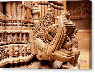 Bas Relief Jain Temple Golden Sandstone Canvas Print by Tom Norring