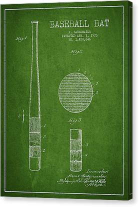 Baseball Bat Patent Drawing From 1923 Canvas Print by Aged Pixel