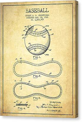 Baseball Patent Drawing From 1928 Canvas Print by Aged Pixel