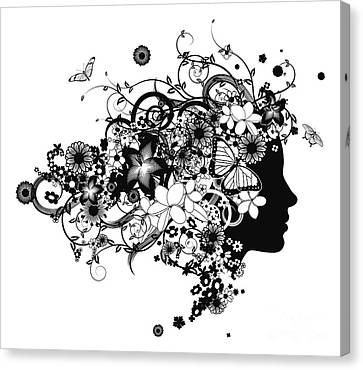 Beautiful Woman With Hair Made Of Flowers Canvas Print by Christos Georghiou