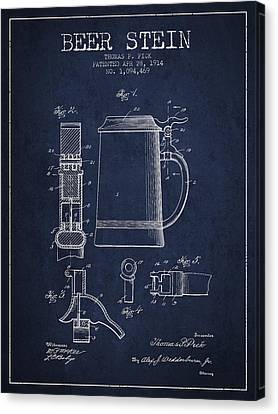Beer Stein Patent From 1914 - Navy Blue Canvas Print by Aged Pixel