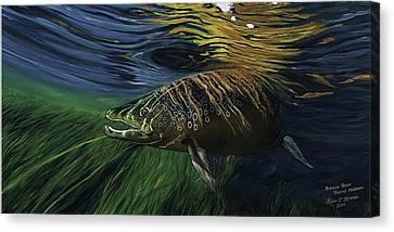 Big Brown Trout Canvas Print by Juan Jose Serra